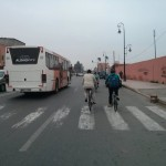 Cycling and traffic in Marrakech